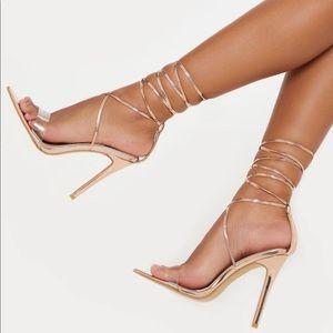 Rose Gold Clear Strap Sandal
